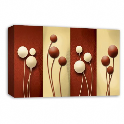 Floral Abstract Wall Art Picture Cream Brown Grey Flower Print